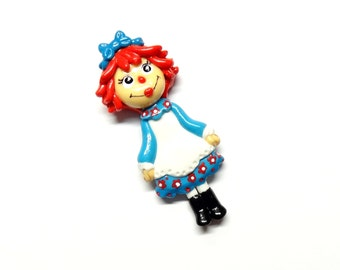 Raggedy Ann - Pendant, Clay Charm, Ornament, Bow Center, Magnet, Brooch, Necklace, Keepsake, Gift, Cold Porcelain Clay Raggedy Ann Figurine