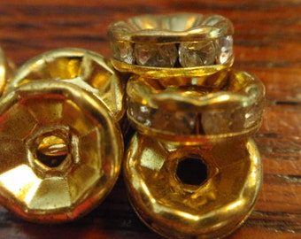 Gold crystal rondelles, 11mm, 20 pieces