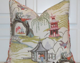 DOUBLE SIDED - Decorative Pillow Cover - Neo Toile Robert Allen - Chinoiserie Pillow - Euro Sham - Oriental Toile - *NO Piping*