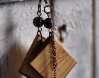wooden earrings •  pine wood earrings jewelry