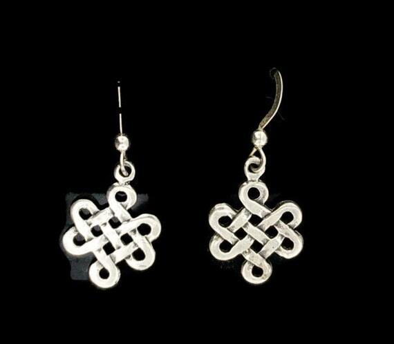 Endless Knotwork Dangle Earrings in Sterling Silver