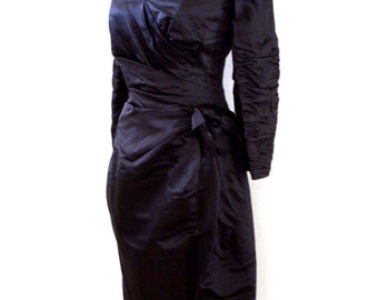 Vintage 80s Black Satin Cocktail Dress by Victor Costa - Long Sleeve Black Party Dress - Black Satin Bombshell Dress - Size Medium 10