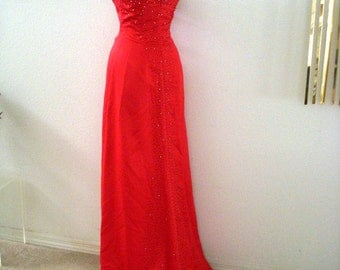 Vintage Cherry RED Evening Gown with Train - 90s Strapless Red Satin Prom Dress w Rhinestones - Mermaid Wiggle Cocktail Party Dress - Medium