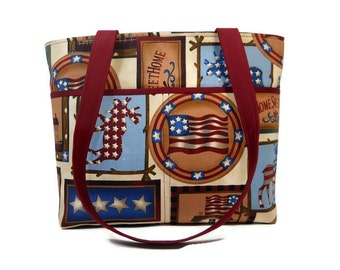 Rustic Tote, Americana Print Purse, Fabric Shoulder Bag, Top Handle Tote, Double Strap Purse, Patriotic Tote, Maroon, Tan, Blue Bag