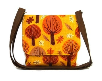 Small Tree Purse, Crossbody Bag, Autumn Pocketbook, Fabric Messenger Bag for Women,  Trees in Pumpkin Orange and Brown on Mustard Yellow