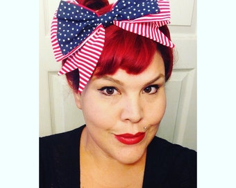 Large Clip On Bow, American Flag, Patriotic