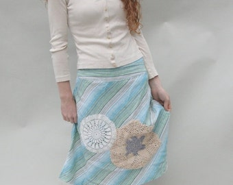 CLEARANCE SALE Upcycled Embellished Reclaimed Skirt Aqua Stripes Crocheted Doilies Nautical
