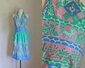 vintage 1970s halter dress - WOODLAND deer novelty print sundress / M