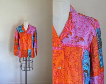 50% OFF...last call // vintage 1960s blouse - MR. D neon polynesian beach jacket / m (deadstock)
