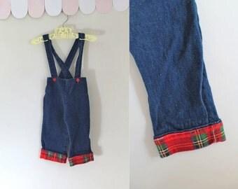 vintage toddler suspender pants - CABIN BOY denim overalls / 9M
