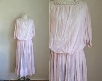antique 1900s edwardian lawn dress / WHISPERING PINK cotton gauze dress / S
