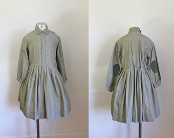 vintage 1950s little girl's dress - OLIVE shirtwaist dress with elbow patch / 10-11yr