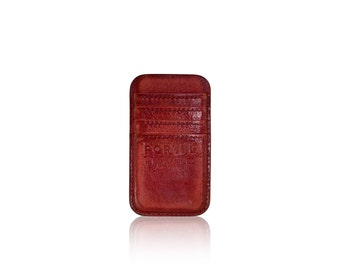 iPhone 6, iPhone 7 RETROMODERN aged leather pocket - - RED