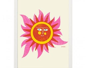 Sun Face 2  Mid Century Modern Illustration Print