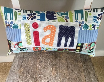 Personalized Name Pillow, Kid's Name Pillow, Made to Order, Custom Design, Applique Name Pillow, Toddler Pillow, Name Pillow