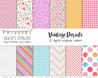 Digital Scrapbook Paper Kit - 12 digital papers - Vintage Parade Inspired - Pink, Aqua, Yellow, White - INSTANT DOWNLOAD