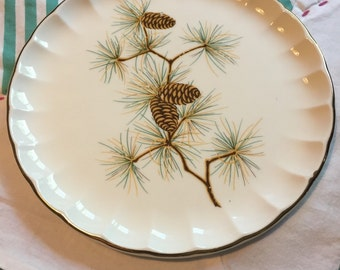 Vintage Desert Plate Pine Cone Bolero Shape W S George Made in The USA #3809