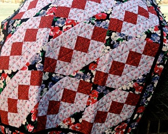 """Red, White & Black Handmade Lap Quilt, Quilted Throw, Floral Modern Patchwork Quilt for Sale, Homemade Quilt - Ready to Ship - 40-1/2"""" x 52"""""""