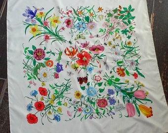 70s GUCCI FLORA--Silk Scarf--V. Accornero--Mint