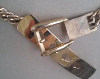 70s GOLDEN CHAIN BELT--Metal Buckle Clasp