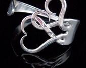 Vintage Silverware Fork Bracelet in Original Intertwining Hearts Design