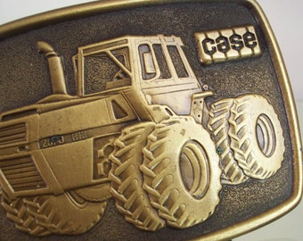 Vintage belt buckle JI CASE 2870 tractor 1976 to 1979 Dahlke Co Milwaukee Wisconsin dealer give away