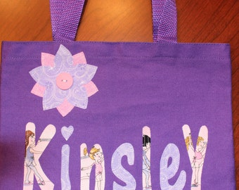 Girl's Personalized Library Tote - kids ballerina ballet book bag school name custom birthday gift idea flower girl wedding toy purse