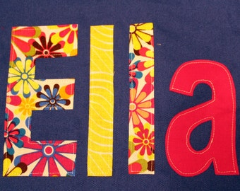 girls iron on applique name letters custom floral iron on letters back to school birthday diy gift favor shirt bedding
