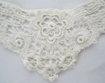 Hand Made Hand Laced Antique Victorian or Edwardian Collar Front piece for Blouse or Dress - Needle Lace - Bobbin Lace