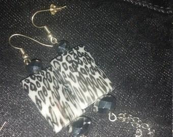 Grey Leopard Earrings
