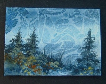aceo art painting mountain trees ref 301