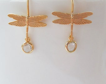 Dragonfly Earrings, Clear Glass Stone, Small Dangle, Gift for Her