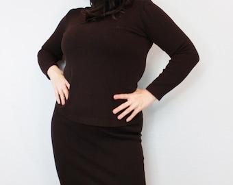 Vintage St. John Skirt and Shirt Set Brown Outfit