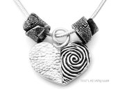Silver Dog Nose Necklace & Paw Print Beads with Real Fingerprint- Cool Gifts- Memorial Pet Loss Gifts-