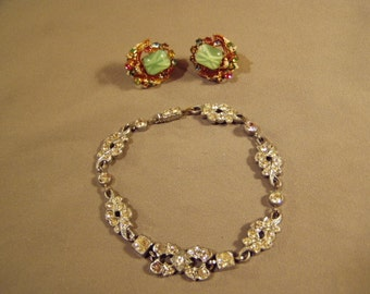 Vintage 1930s Czechoslovakia Marked Glass Rhinestone Screw Back Earrings & Bracelet  8166