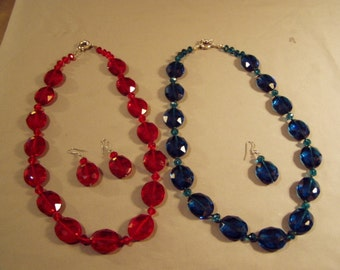 Vintage 1980s 2 Glass Bead Necklaces 1 With Matching Pierced Earrings Turquoise & Red 8204
