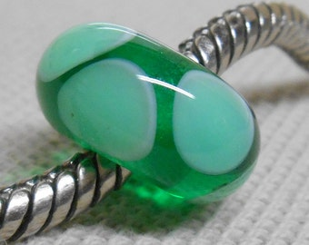 Glass Lampwork Bead Large Hole European Charm Bead Transparent Green with Green Dots