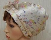 Floral Silky Satin Head Scarf, Headscarf, Head Wrap, Hair Scarf, Head Covering, Surgical Scrub Cap, Sleeping Bonnet