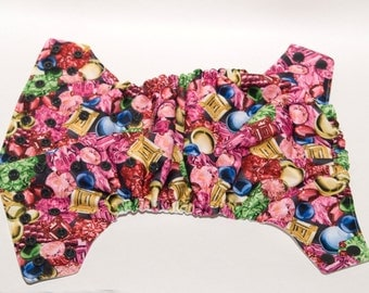 Pink Gem Stones - One Size Cloth Diaper - OS Baby Diaper - Girly Diaper - Cloth Cover - Pocket Diaper - AI2 Diaper - Velcro or Snaps