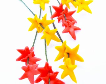 Maple Leaves Miniature Polymer Clay Flowers Supplies for Dollhouse Gifts 12 bunches