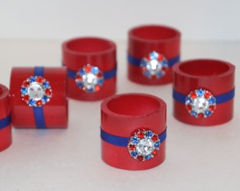 Bling  Red and Blue Napkin Rings Set of 6