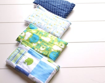 Set of Four - Baby Boy Flannel Burp Cloth Gift Set - Baby Shower Gift - New Mom Essential