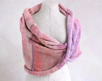 Art knit scarf Old Rose-hypoallergenic all natural summer weight knit infinity scarf soft cool cotton & silk