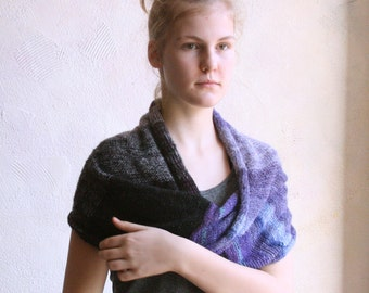 Black Violet one of a kind knit Infinity Scarf double cowl wrap in soft lightweight kid mohair, silk
