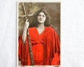 Vintage Actress Postcard, Maud Jeffries, Edwardian,1900s, Collectible, Early Colour Tinted Postcard, Red, The Sign Of The Cross,