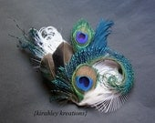 ETHYL -- Vibrant Greens Something Blue and Ivory Unique Peacock Sword Feather Fascinator Modern Day Wedding Bridal Bride Hair Clip Headpiece