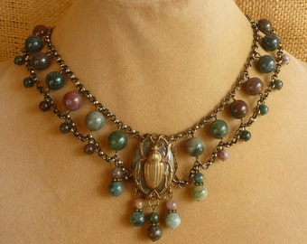 Egyptian Style Scarab Choker Fancy Jasper and Antique Brass