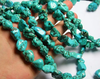Turquoise howlite Gemstone - nugget - full strand - A quality - 15 mm - PSC265