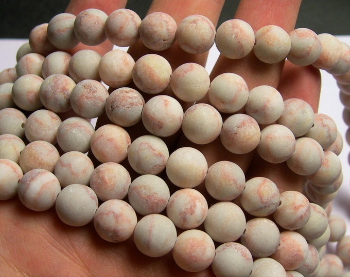 Red line Jasper matte - 10 mm round beads - full strand - 40 beads - A quality - matte - Red line marble - RFG910