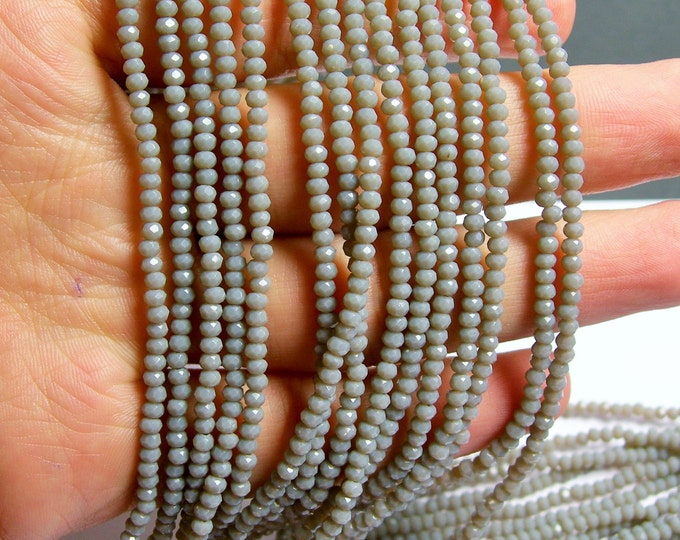 Crystal - rondelle  faceted 3mm x  2mm beads - 200 beads - AA quality - grey  - CAA2G90